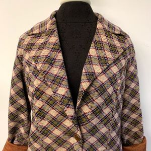 Vintage Jackets & Coats - Vintage Red Yellow & Blue Plaid Long Knit Blazer